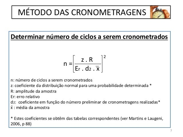 Determinar número de ciclos a serem cronometrados n: número de ciclos a serem cronometrados z: coeficiente da distribuição...