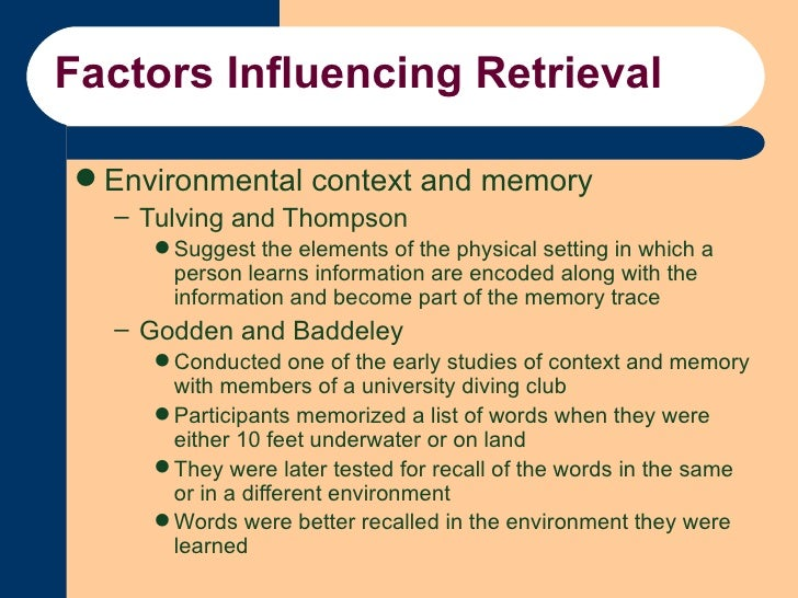Context- Dependent memory experiment (Godden & Baddeley ...