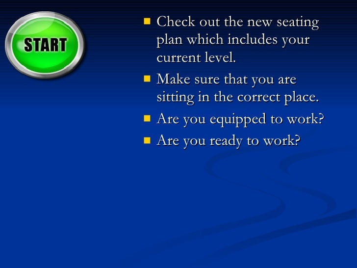 <ul><li>Check out the new seating plan which includes your current level.  </li></ul><ul><li>Make sure that you are sittin...