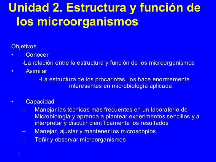 <ul><li>Unidad 2. Estructura y función de los microorganismos </li></ul><ul><li>Objetivos </li></ul><ul><li>Conocer </li><...