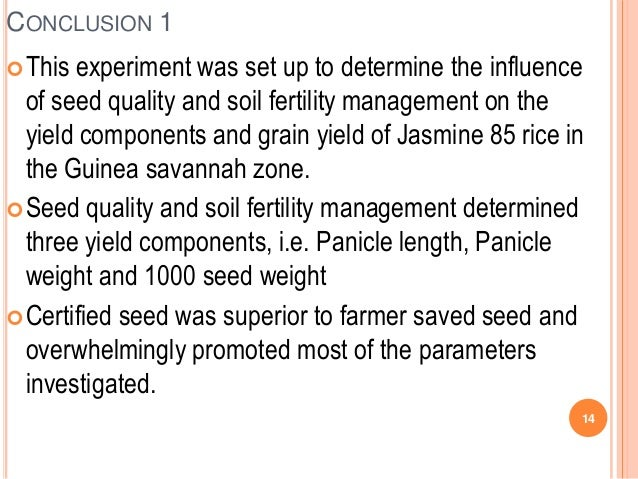 Th2 influence of seed quality and soil fertility for Soil quality parameters