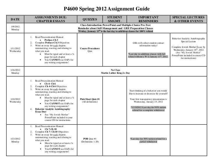 P4600 Spring 2012 Assignment Guide                 ASSIGNMENTS DUE:                                                       ...
