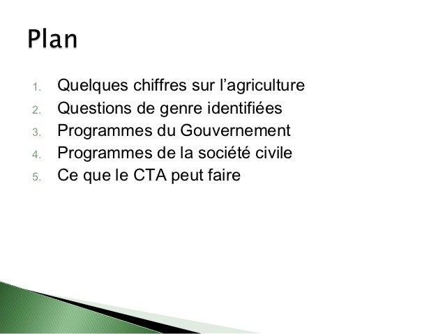 1.   Quelques chiffres sur l'agriculture2.   Questions de genre identifiées3.   Programmes du Gouvernement4.   Programmes ...