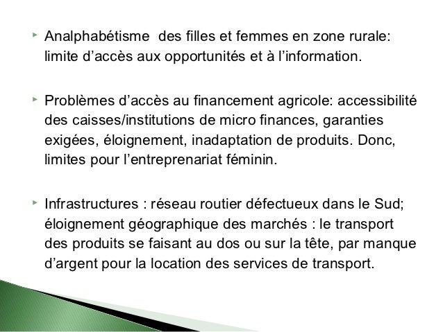    Analphabétisme des filles et femmes en zone rurale:    limite d'accès aux opportunités et à l'information.   Problème...