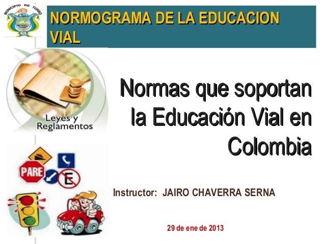 NORMOGRAMA DE LA EDUCACIONVIAL        Normas que soportan         la Educación Vial en                   Colombia       In...