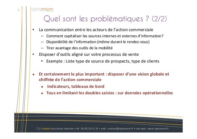Quel sont les problématiques ? (2/2)3Optamium tous droits réservés • tél : 06 95 29 11 31 • mail : contact@optamium.fr • s...