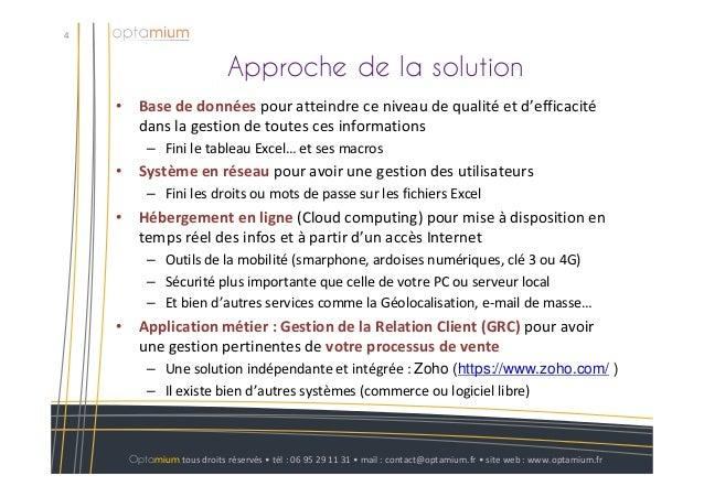 Approche de la solution4Optamium tous droits réservés • tél : 06 95 29 11 31 • mail : contact@optamium.fr • site web : www...