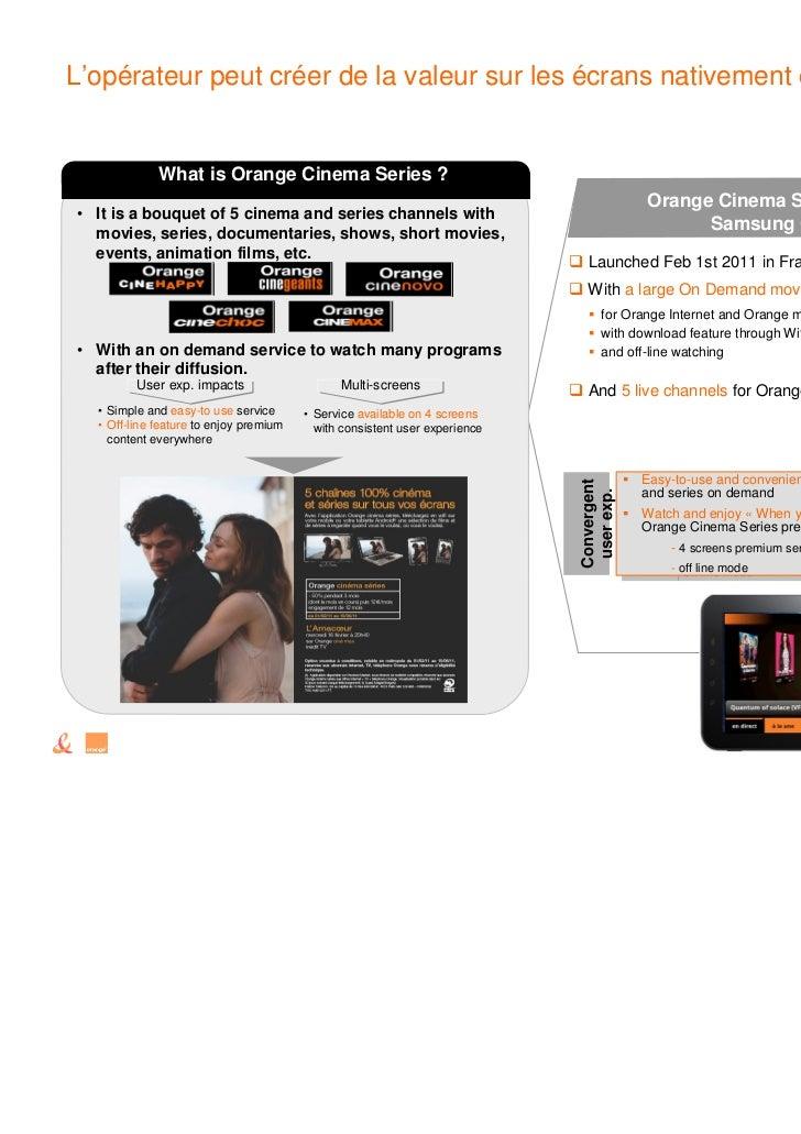 L'opérateur peut créer de la valeur sur les écrans nativement connectés             What is Orange Cinema Series ?        ...