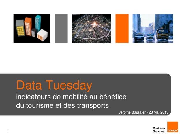 1Data Tuesdayindicateurs de mobilité au bénéficedu tourisme et des transportsJérôme Bassaler - 28 Mai 2013