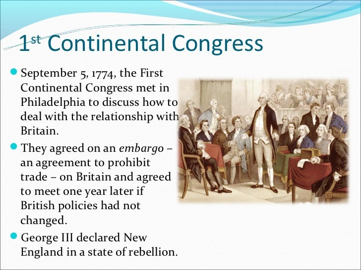 what year did the first continental congress meet