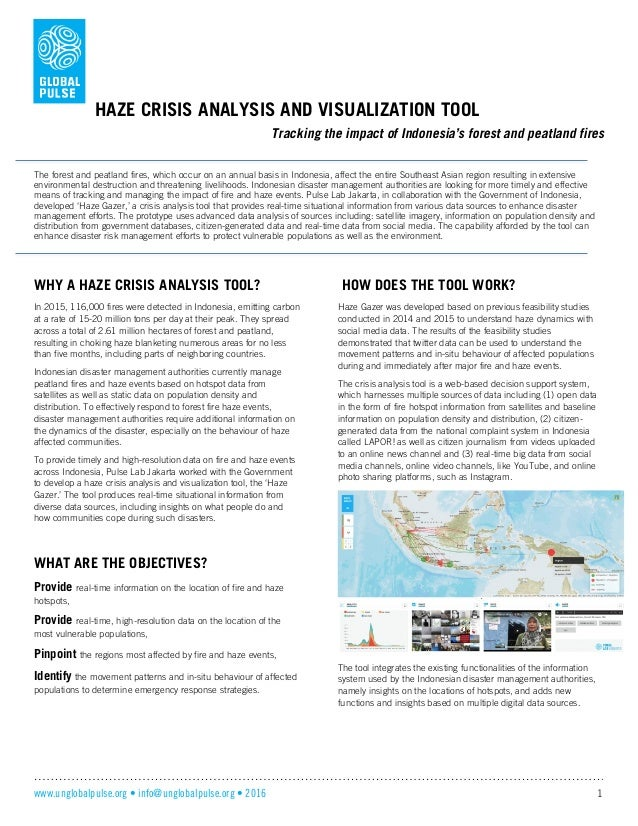 www.unglobalpulse.org • info@unglobalpulse.org • 2016 1 HAZE CRISIS ANALYSIS AND VISUALIZATION TOOL Tracking the impact of...