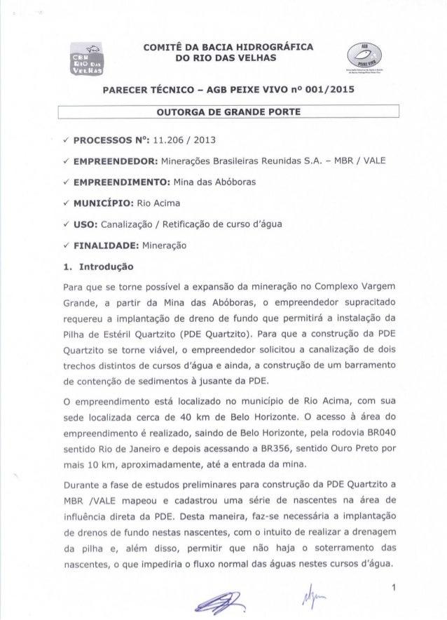 Parecer Técnico 11.206/2013 - AGB Peixe Vivo - 001/2015