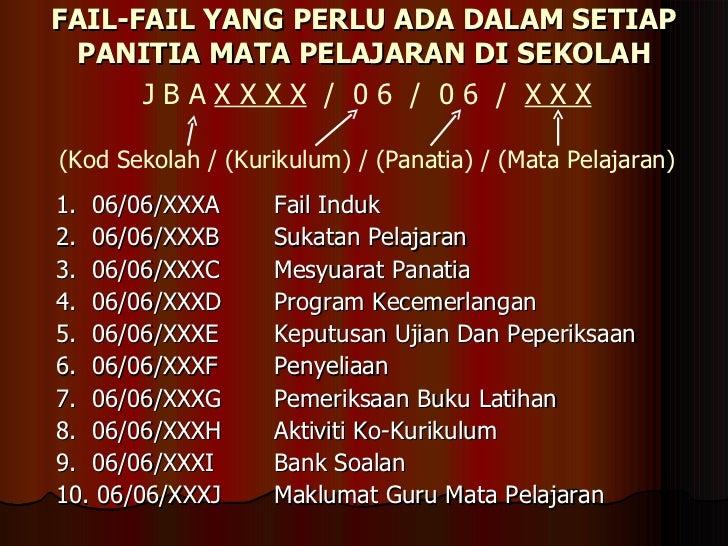 FAIL-FAIL YANG PERLU ADA DALAM SETIAP PANITIA MATA PELAJARAN DI SEKOLAH <ul><li>1.  06/06/XXXA  Fail Induk </li></ul><ul><...
