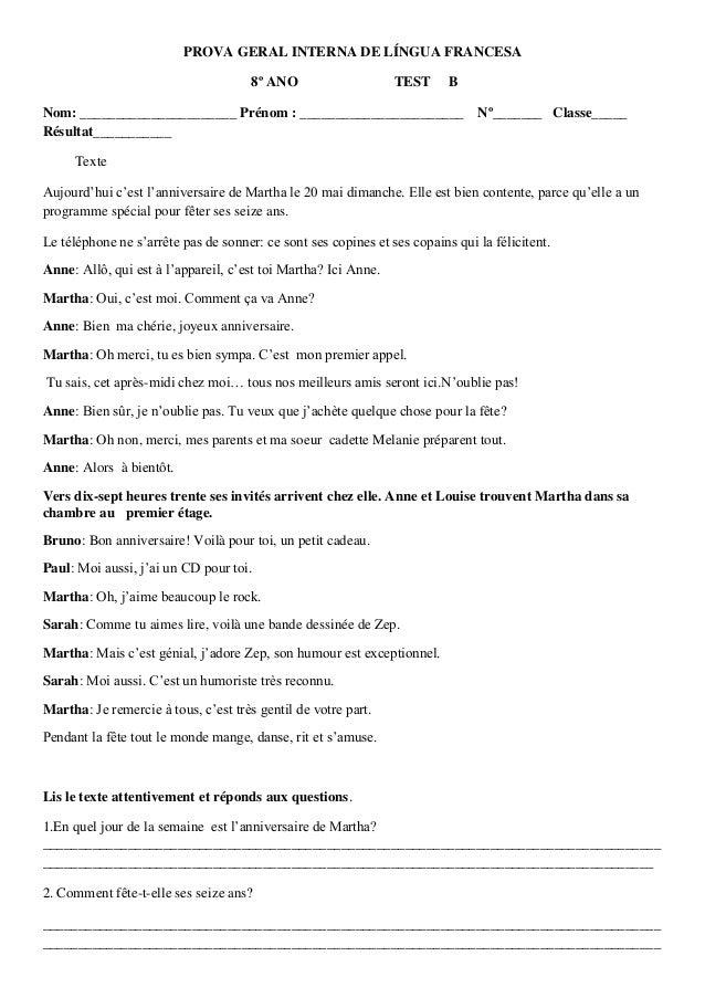 PROVA GERAL INTERNA DE LÍNGUA FRANCESA                                      8º ANO                    TEST      BNom: ____...