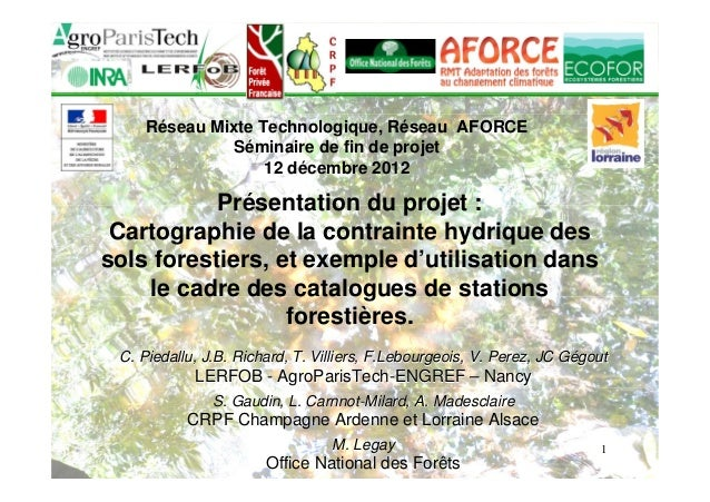 1  Réseau Mixte Technologique, Réseau AFORCE  Séminaire de fin de projet  12 décembre 2012  Présentation du projet :  Cart...