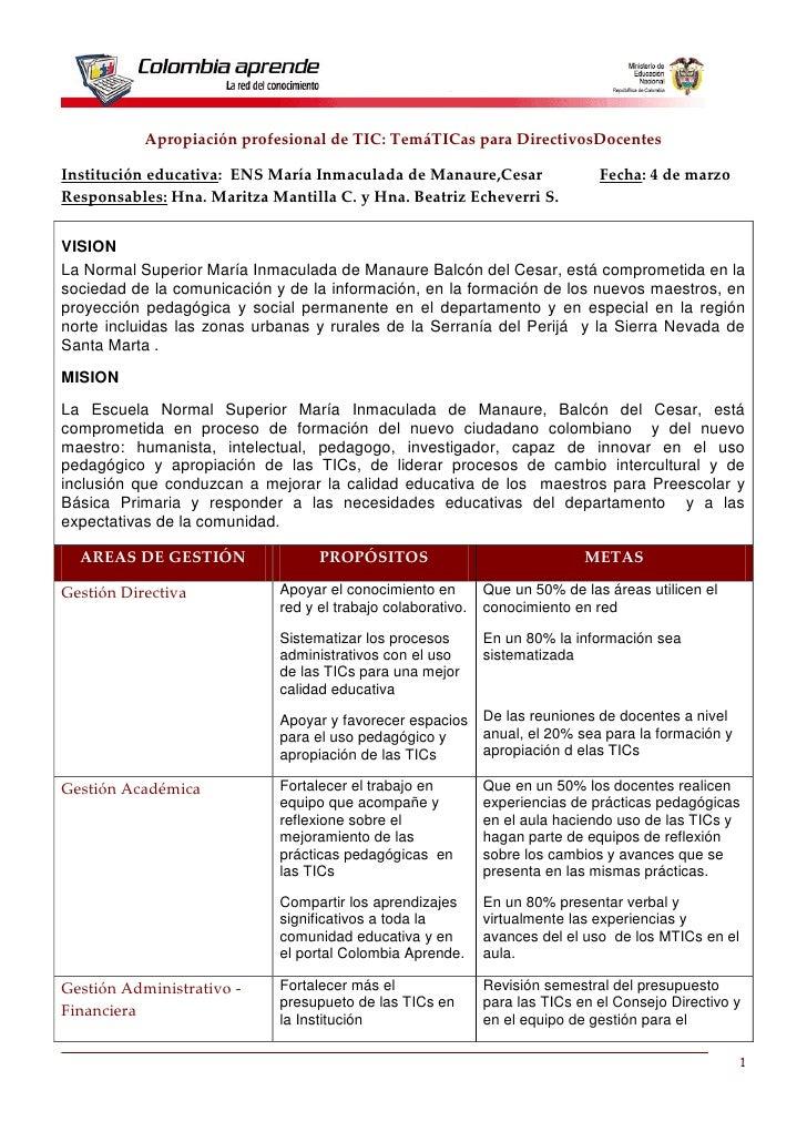 Apropiación profesional de TIC: TemáTICas para DirectivosDocentes  Institución educativa: ENS María Inmaculada de Manaure,...