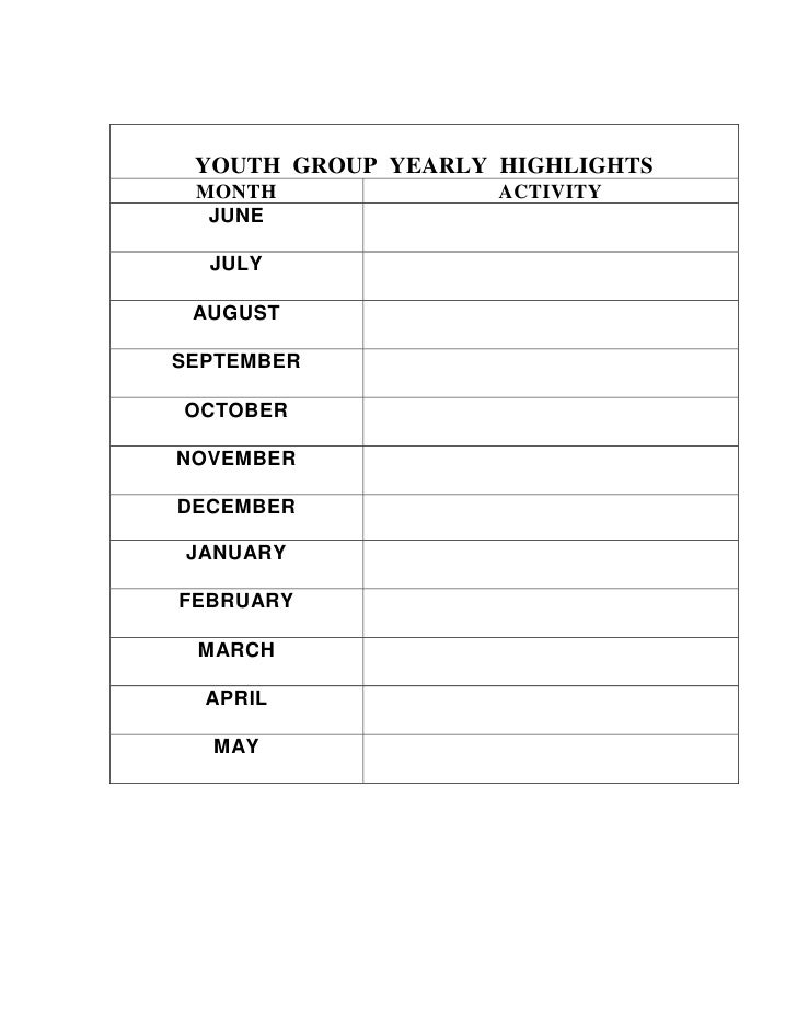 YOUTH  GROUP  YEARLY  HIGHLIGHTSMONTHACTIVITYJUNEJULYAUGUSTSEPTEMBEROCTOBERNOVEMBERDECEMBERJANUARYFEBRUARYMARCHAPRILMAY <b...