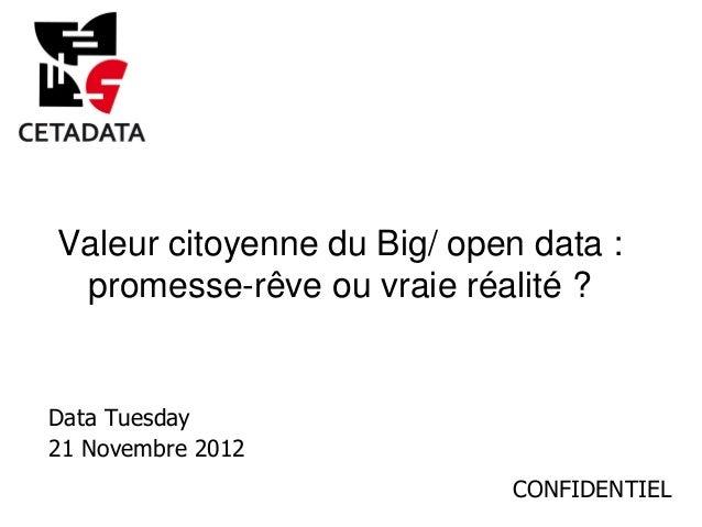 Valeur citoyenne du Big/ open data : promesse-rêve ou vraie réalité ?Data Tuesday21 Novembre 2012                         ...