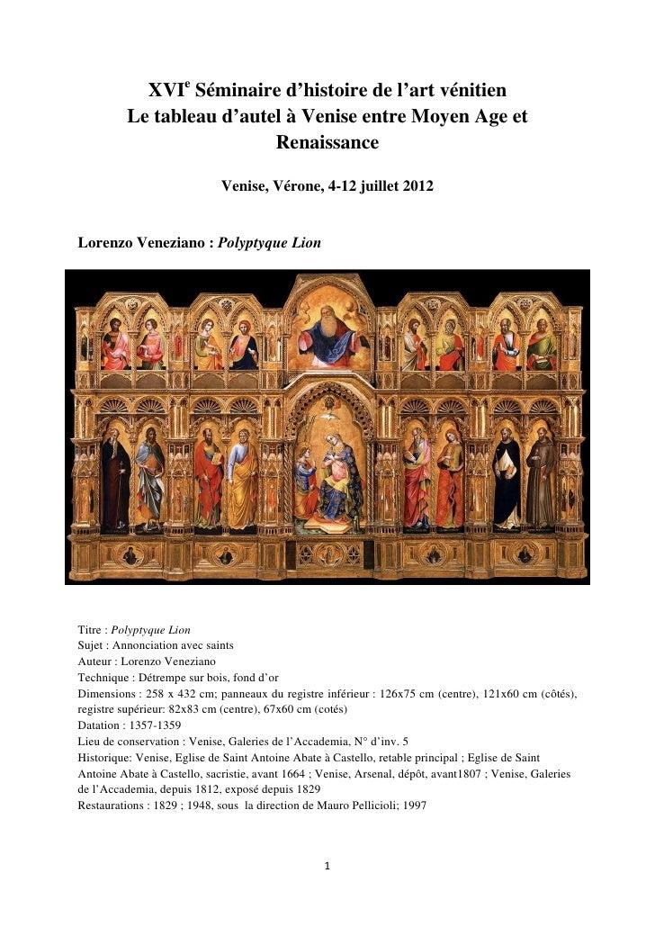 XVIe Séminaire d'histoire de l'art vénitien          Le tableau d'autel à Venise entre Moyen Age et                       ...