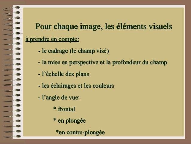 Pour chaque image, les éléments visuelsà prendre en compte:    - le cadrage (le champ visé)    - la mise en perspective et...