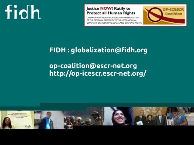 FIDH : globalization@fidh.org  op-coalition@escr-net.org  http://op-icescr.escr-net.org/  3