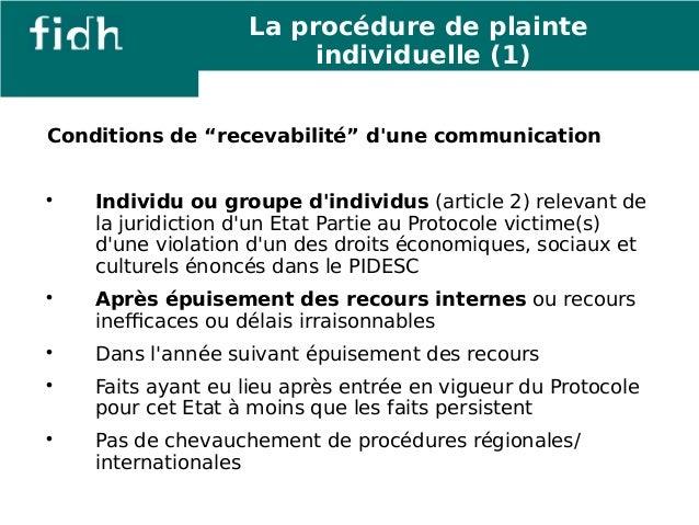 """Conditions de """"recevabilité"""" d'une communication   Individu ou groupe d'individus (article 2) relevant de  la juridiction..."""