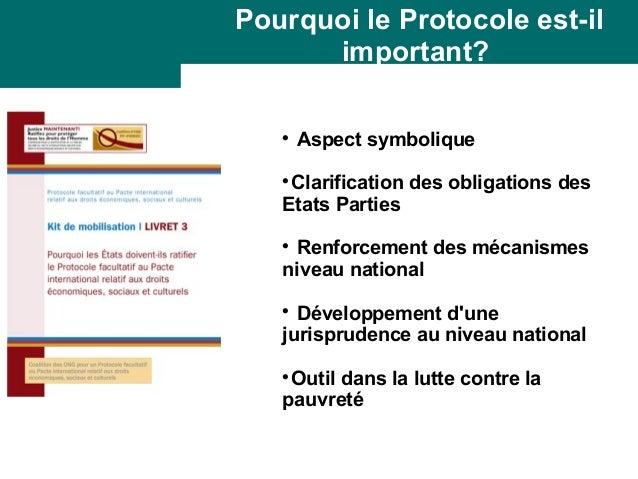 Pourquoi le Protocole est-il  important?   Aspect symbolique  Clarification des obligations des  Etats Parties   Renfor...
