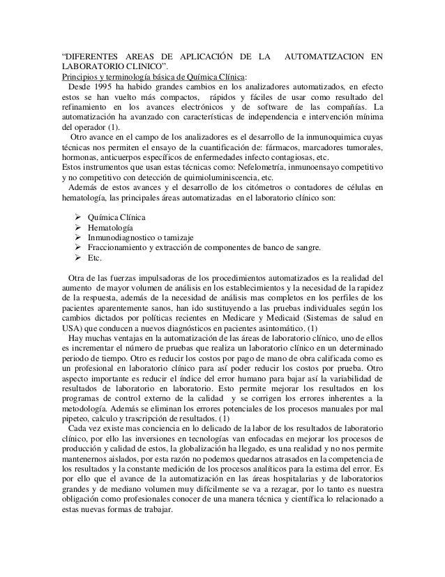 """""""DIFERENTES AREAS DE APLICACIÓN DE LA AUTOMATIZACION EN LABORATORIO CLINICO"""". Principios y terminología básica de Química ..."""