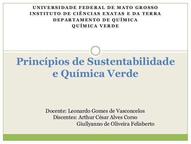 Princípios de Sustentabilidade e Química Verde U N I V E R S I D A D E F E D E R A L D E M A T O G R O S S O I N S T I T U...
