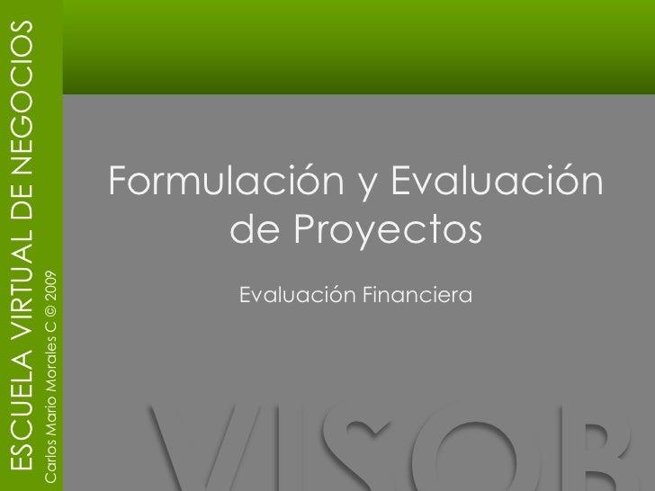 Formulación y Evaluación de Proyectos <br />Evaluación Financiera<br />