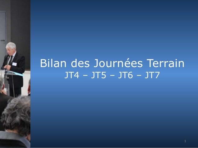 Bilan des Journées Terrain  JT4 – JT5 – JT6 – JT7  1