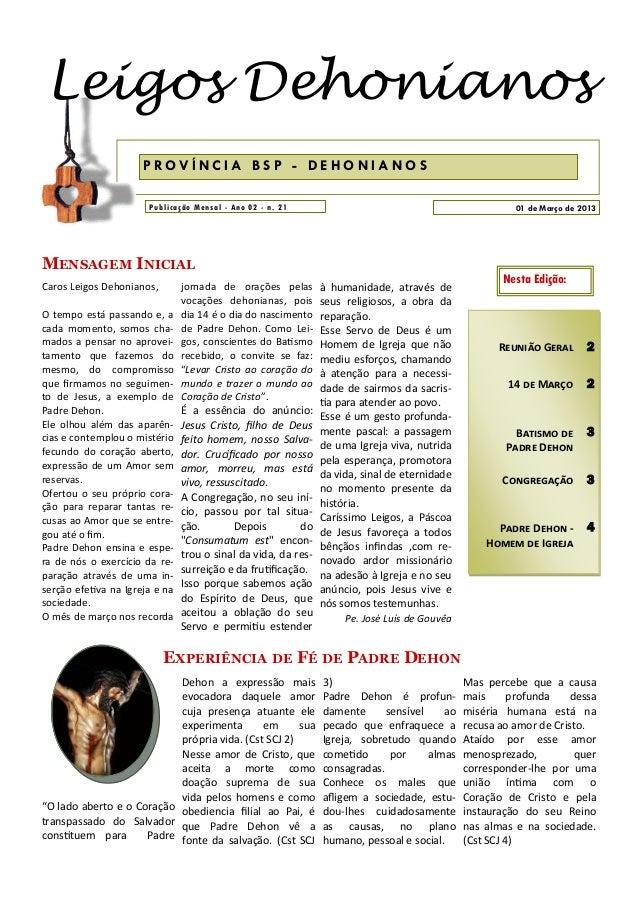 Leigos Dehonianos                      PROVÍNCIA BSP - DEHONIANOS                       Publicação Mensal - Ano 02 - n. 21...