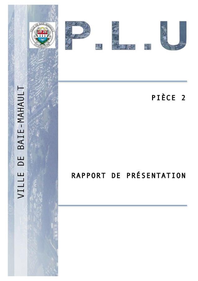 P 1 PIÈCE 2 RAPPORT DE PRÉSENTATION