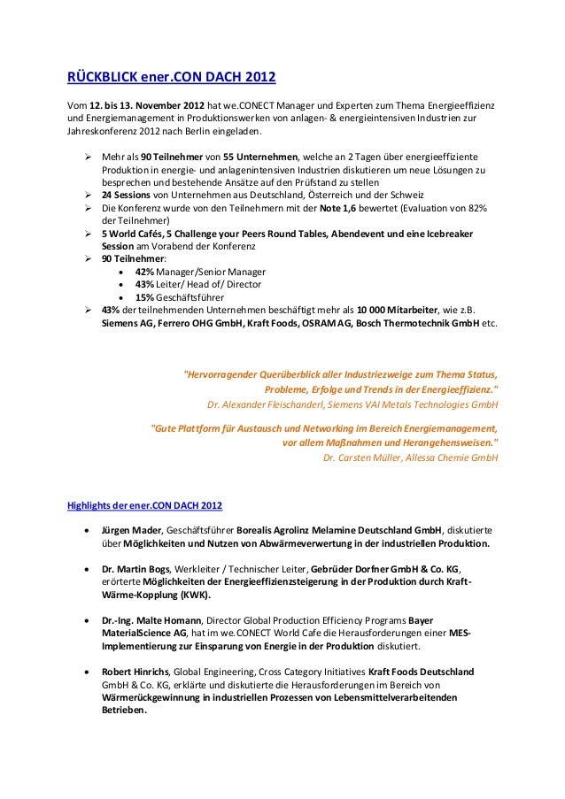 RÜCKBLICK ener.CON DACH 2012Vom 12. bis 13. November 2012 hat we.CONECT Manager und Experten zum Thema Energieeffizienzund...
