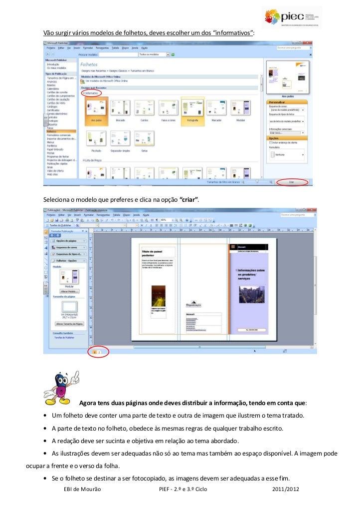 """Vão surgir vários modelos de folhetos, deves escolher um dos """"informativos"""":      Seleciona o modelo que preferes e clica ..."""