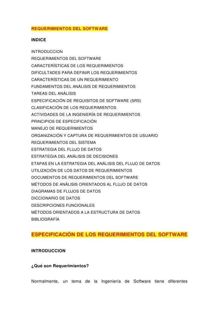 REQUERIMIENTOS DEL SOFTWAREINDICEINTRODUCCIONREQUERIMIENTOS DEL SOFTWARECARACTERÍSTICAS DE LOS REQUERIMIENTOSDIFICULTADES ...