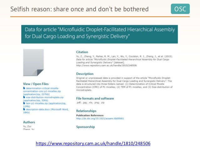 OSCSelfish reason: share once and don't be bothered https://www.repository.cam.ac.uk/handle/1810/248506