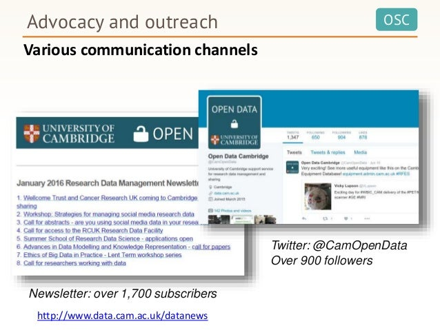 OSCAdvocacy and outreach Twitter: @CamOpenData Over 900 followers Newsletter: over 1,700 subscribers Various communication...