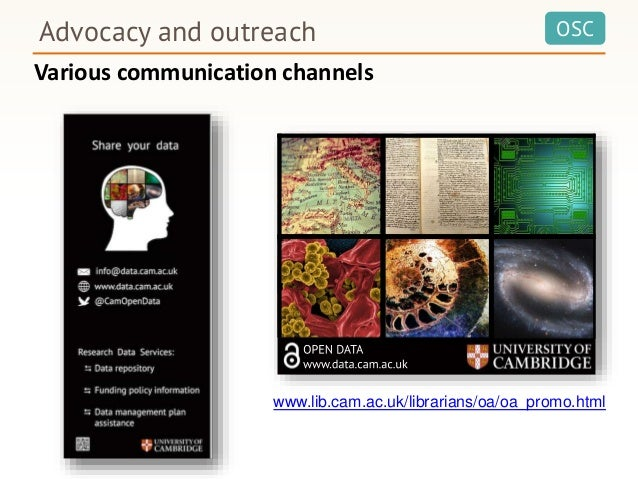 OSCAdvocacy and outreach www.lib.cam.ac.uk/librarians/oa/oa_promo.html Various communication channels
