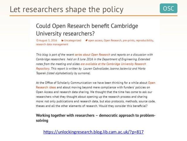 OSCLet researchers shape the policy https://unlockingresearch.blog.lib.cam.ac.uk/?p=817