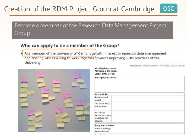 OSCCreation of the RDM Project Group at Cambridge