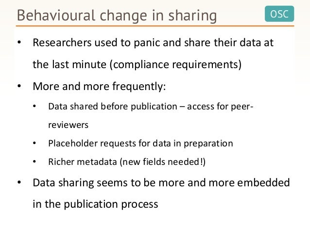 OSCBehavioural change in sharing In a bit more than a year 10X more data submissions than during a decade 2005 - 2015 2015...