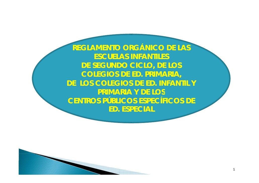 REGLAMENTO ORGÁNICO DE LAS       ESCUELAS INFANTILES    DE SEGUNDO CICLO, DE LOS    COLEGIOS DE ED. PRIMARIA, DE LOS COLEG...