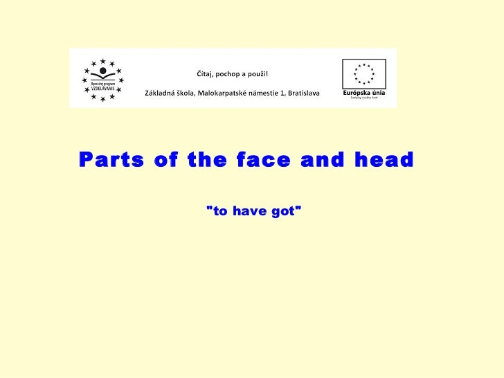 """Parts of the face and head """"to have got"""""""