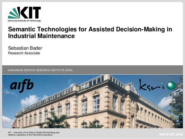 KIT – University of the State of Baden-Württemberg and National Laboratory of the Helmholtz Association KARLSRUHE SERVICE ...
