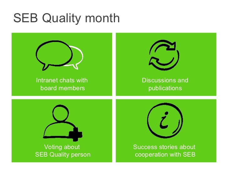 SEB Quality month Voting about  SEB Quality person Success stories about  cooperation with SEB Intranet chats with  board ...