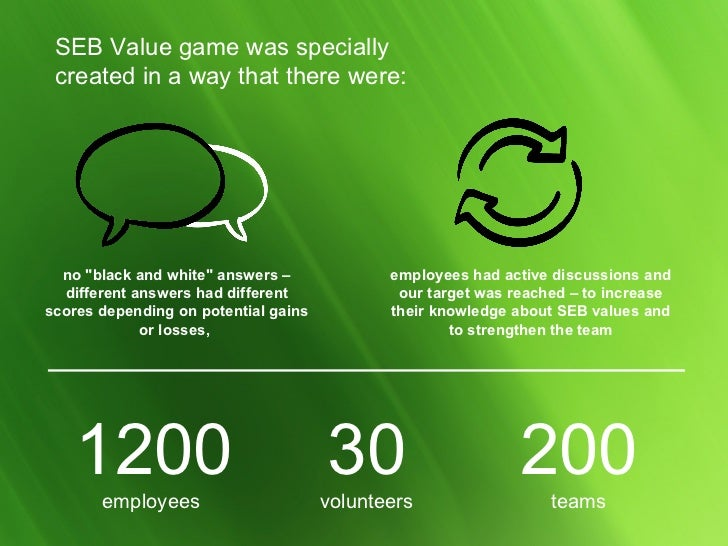 """SEB Value game   was specially created in a way that there were :   no  """" black and white """"  answers – different..."""