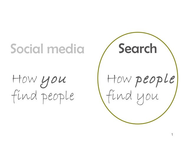 1 Social media How you find people Search How people find you
