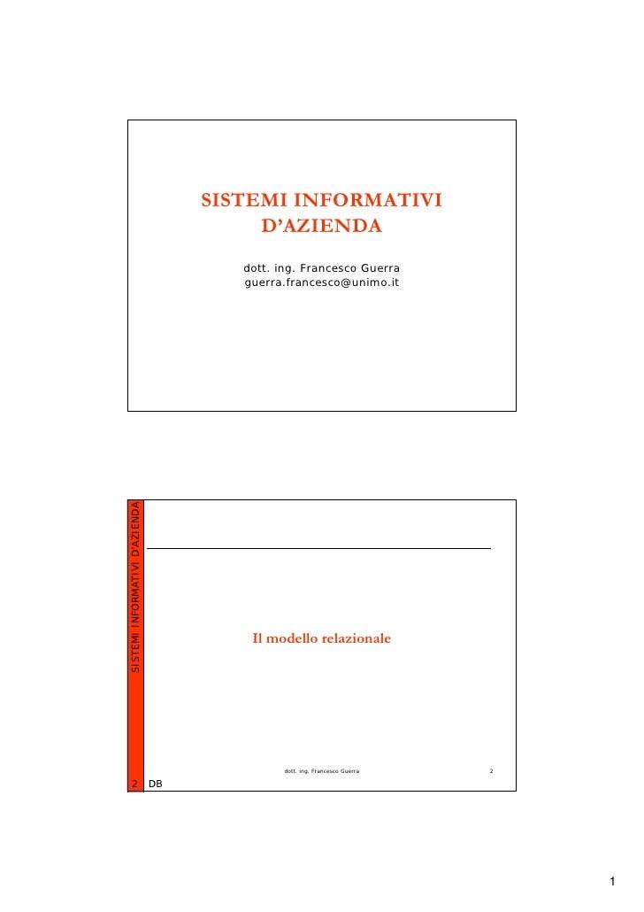 SISTEMI INFORMATIVI                                           D'AZIENDA                                         dott. ing....