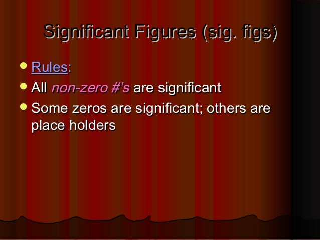 Significant Figures (sig. figs)Significant Figures (sig. figs) RulesRules:: AllAll non-zero #'snon-zero #'s are signific...